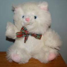 Ursulet de plus - Jucarie plus urs / ursulet alb cu roz, pufos, 25cm