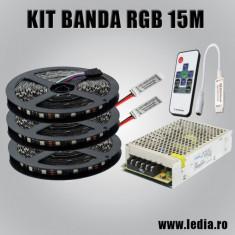KIT 15 metrii banda LED RGB 5050, 60led/metru, controller RF si sursa 240W 20A ZDM