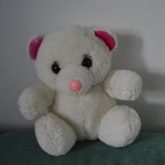 Ursulet de plus - Jucarie plus urs / ursulet alb cu roz, urs polar fetita, 18cm