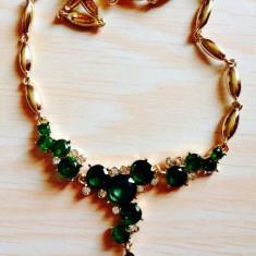 Set bijuterii placate cu aur - Colier filat in aur de 18 k cu cristale