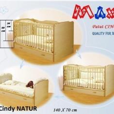 Patut copii CINDY - TRANSFORMABIL (cu sertar) - 140x70 cm Natur