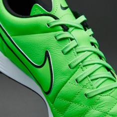 Ghete fotbal - Adidasi teren sintetic / Ghete - Nike Tiempo Genio- Piele-Green strike