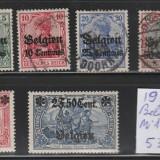 Ocupatia Germana in Belgia - 1914 - serie mixta, Stampilat