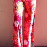 CL438-3 Pantaloni largi de vara cu print colorat model preppy palazzo