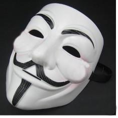 MASCA V for Vendetta . Anonymous. ACTA Petreceri. Demonstratii. Stadion - Masca carnaval, Marime: Masura unica, Culoare: Alb