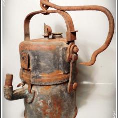 Metal/Fonta, Scule si unelte - ZWICKAU - LAMPĂ DE MINĂ GERMANĂ PE CARBID, MARE & VECHE, FUNCȚIONALĂ, ANII 1920!