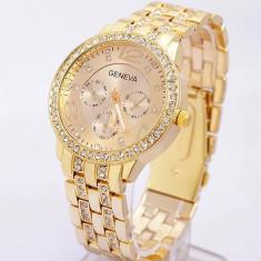 Ceas dama GENEVA auriu gold bratara metalica cristale superb+cutie simpla cadou, Quartz, Metal necunoscut, Nou
