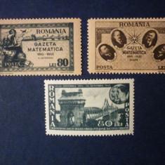 Timbre Romania, An: 1946, Nestampilat - Romania, 1945 Gazeta matematica si Podul de la Cernavoda, MNH