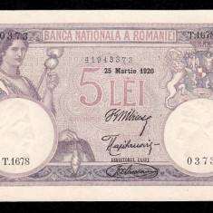 ROMANIA, 5 LEI 1920, aUNC