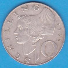 (6) MONEDA DIN ARGINT AUSTRIA - 10 SCHILLING 1958, 7, 5 GRAME, Europa, An: 1958