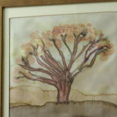Tablou cu rama din lemn - pictura pe matase - semnat !!!