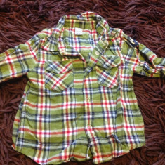 Camasa, camasuta pentru baieti, 1-2 ani, DopoDopo, verde in carouri, 80-86 cm
