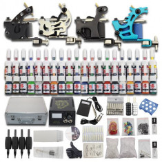Masina tatuaje - Kit tatuaj complet 4 masini sursa 40 culori geanta si multe accesorii