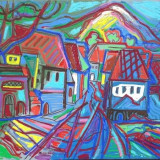 Tablou, Peisaje, Ulei, Abstract - Peisaj baimarean original ISTVAN KOZMA 2