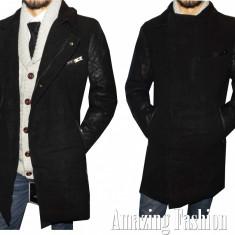 Palton barbati - Palton Fashion tip Zara Man, cu Maneci din Piele Ecologica, Foarte Gros