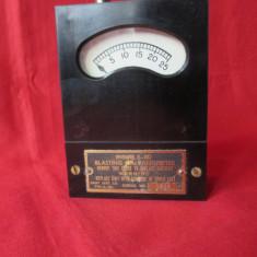 Galvanometru militar din anii 50, aparat de masura vechi SUA, carcasa ebonita