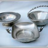 Metal/Fonta - LOT 3 BOLURI / VASE / FARFURII ADÂNCI, FĂCUTE DIN COSITOR DE CALITATE - 0.5 KG!