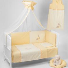 Lenjerie 3 Piese Somn Usor Galben - Lenjerie pat copii BebeDeco