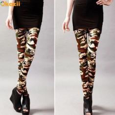 Pantaloni dama - Colanti pantaloni stretch dama stil army camuflaj