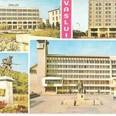 CPI (B5502) VASLUI. COMPLEXUL MESTESUGARESC, HOTEL RAHOVA, MONUMENTUL EROILOR - Carte Postala Moldova dupa 1918, Circulata, Fotografie