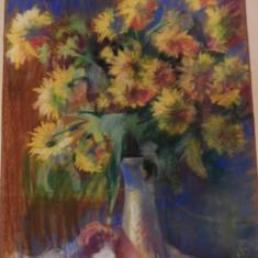 TABLOU PASTEL FARKAS ESZTER 1900-1983 VAZA CU FLORI, Art Deco