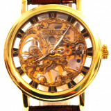 Ceas barbatesc, Fashion, Mecanic-Manual, Piele - imitatie, Analog - CEAS GOER SKELETON GOLD SUPERB