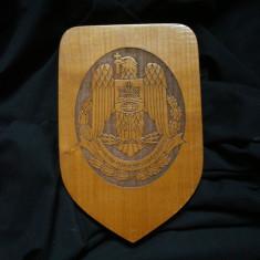 Emblema de STAT ROMANIA (panoplie, panou, heraldica). Sculptura, gravura lemn.