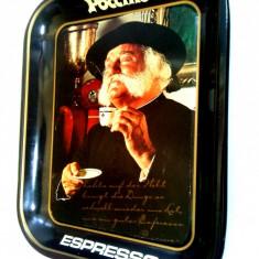 Tava metalica pentru servire cafea cu reclama ESPRESSO Poccino anii '80 - Cutie Reclama