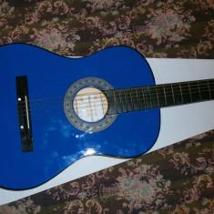 Chitara clasica incepatori cu corzi de metal si pana culoare albastru