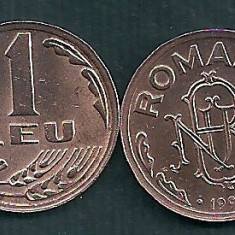Monede Romania, An: 1992, Tombac - ROMANIA 1 LEU 1992 UNC [1] livrare in cartonas, necirculata