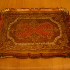 Tava mare lemn, pictata manual, antichizata, adusa din Germania