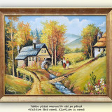 Tablou, An: 2016, Peisaje, Ulei, Altul - La moara - pictura peisaj rural, ulei pe panza cu rama, 52x42cm