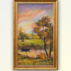 Peisaj cu pescari - pictura in ulei pe panza, inramata, 57x36cm - Pictor roman, An: 2016, Peisaje, Altul
