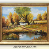 Tablou, An: 2016, Peisaje, Ulei, Altul - Calmitate (3) - pictura peisaj rural, ulei pe panza cu rama, 47x37cm