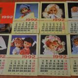 Calendar vechi papusi Aradeanca. Anul 1992. Dimensiune mare. Papusa Aradeanca!