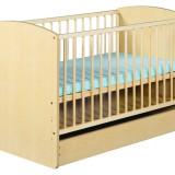 Patut lemn pentru bebelusi - Patut Copii Lemn Cu Sertar KAROLINA II Natur