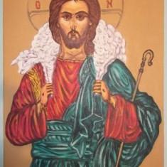 Obiecte Cult - Icoana Bizantina In Ulei Pe Panza Cu Iisus Hristos Pastorul Cel Bun!
