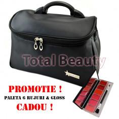 Geanta cosmetice - Geanta cosmetica si manichiura Fraulein38 Germania Ebony + CADOU Paleta 6 Ruj