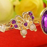 Inel placate cu aur - Superb inel suflat cu aur de 9k fluture cu ametist cz. Marime 5, 6, 7, 8, 9, 10