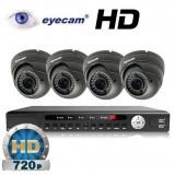 Camera CCTV - Kit supraveghere AHD cu 4 camere 1MP si DVR Eyecam EC-AHD-KIT5
