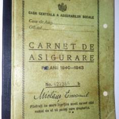 Carnet de asigurare pe anii 1940 - 1943