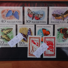 MPDV - Magyar Posta - Timbre Ungaria - Serii complete 1959 nestampilate *Fluturi - Timbre straine