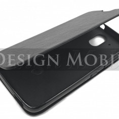 HUSA HTC DESIRE 526 FLIP TIP CARTE SUPER OFERTA - Husa Telefon HTC, Negru, Piele Ecologica, Cu clapeta, Toc