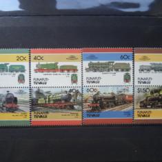 Timbre straine, An: 1986, Transporturi, Nestampilat - 1986 Tuvalu ( Funafuti ) Mi 85 - 92 Trenuri, locomotive serie neuzata.