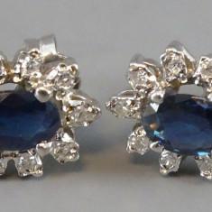 Cercei aur alb - Cercei aur 18k cu safire si diamante