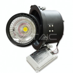 Bec / LED - 25W Spot LED Downlight COB Zoom Fitting Corp Negru 3000K