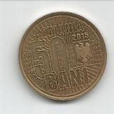 No(4) moneda-ROMANIA- 50 bani 2015- 10 ANI DE LA DENOMINAREA MONEDEI NATIONALE, Cupru (arama)