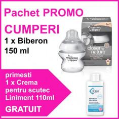 Pachet Promo Biberon 150Ml + Crema Pentru Scutec Liniment 110Ml Gratuit Tommee Tippee
