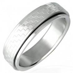 Inel din oțel inoxidabil cu parte rotativă model tablă de șah - Inel inox