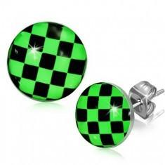 Cercei din oţel, tablă de şah verde cu negru - Cercei inox